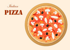 Italian pizza image for menu or recipe or pizza delivery, horizontal. Orientation Royalty Free Stock Photo