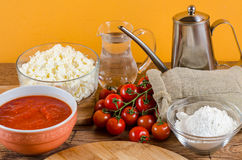 Italian pizza ingredients  for homemade pizza Royalty Free Stock Photography