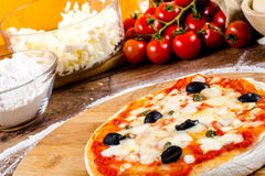 Italian pizza ingredients  for homemade pizza Royalty Free Stock Images