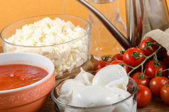 Italian pizza ingredients  for homemade pizza Stock Images