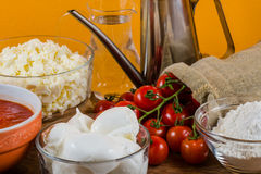 Italian pizza ingredients  for homemade pizza Royalty Free Stock Photos