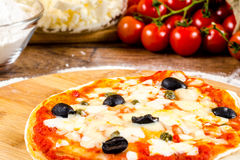 Italian pizza ingredients  for homemade pizza Royalty Free Stock Photo