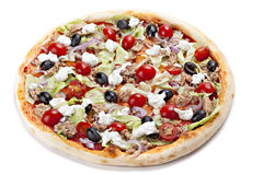 Italian Pizza, Isolated On White Background. Royalty Free Stock Photo