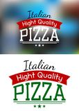 Italian pizza label or banner Stock Photos