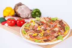 Italian pizza with lettuce beef Royalty Free Stock Images