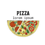 Italian Pizza logo template hand drawn vector illustration. Can be use for pizzeria, cafe, restaurant. Stock Photo