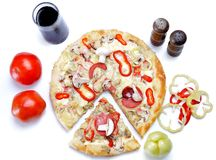 Italian pizza with many colors Stock Photos