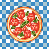 Italian pizza Margarita with tomatoes, cheese and basil. Hand dr Royalty Free Stock Photography