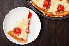 Italian pizza with mozzarella cheese and tomatoes, Margarita Stock Images
