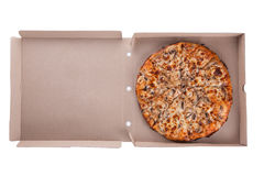 Italian pizza with mushrooms in a box isolated on white Stock Photo