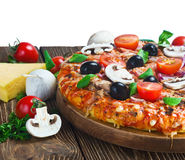 Italian pizza with mushrooms and cheese served Stock Photos