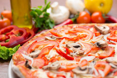 Italian pizza with mushrooms and onion Royalty Free Stock Image