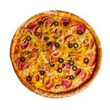 Italian pizza with olives cheese and salami royalty free stock photos