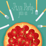 Italian pizza party invitation, celebration image royalty free illustration