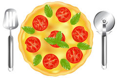 Italian Pizza With Pizza Spatula. Vector Royalty Free Stock Images