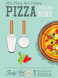 Italian Pizza poster. Traditional Italian Food Poster - Pizza, Pizza Cutter and Cake Server on Blue Background. Placard Style. Top View. Vector Illustration royalty free illustration