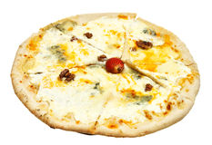 Italian pizza quatro formaggi (four cheese) Royalty Free Stock Image