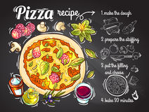 Italian pizza recipe. Beautiful hand drwan vector illustration cooking pizza for your design Stock Photos