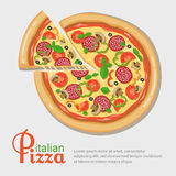 Italian pizza recipe with elements. Eps10 Royalty Free Stock Image