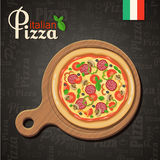 Italian pizza recipe with elements. Eps10 Stock Image