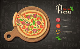 Italian pizza recipe with elements. Eps10 Stock Photography
