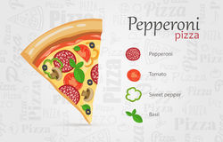 Italian pizza recipe with items Royalty Free Stock Images