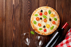 Italian pizza and red wine Royalty Free Stock Photo