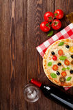 Italian pizza and red wine Stock Image
