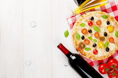 Italian pizza and red wine Stock Photo
