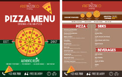 Italian Pizza Restaurant Menu - Front and Back Stock Photography