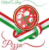 Italian pizza on ribbon flag Stock Photos
