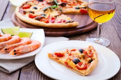 Italian Pizza with seafood Stock Photography