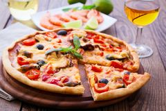 Italian Pizza with seafood Royalty Free Stock Photo
