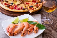 Italian Pizza with seafood Stock Photos