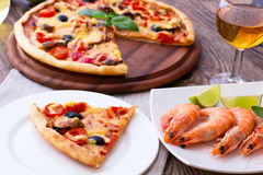 Italian Pizza with seafood. Royalty Free Stock Photos