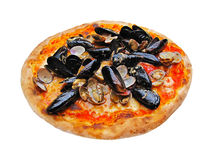 Italian pizza with seafood Stock Images