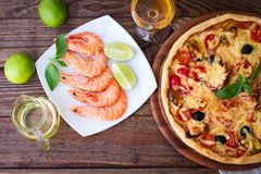 Italian Pizza with seafood. top view Royalty Free Stock Photos