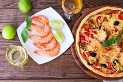 Italian Pizza with seafood. top view Royalty Free Stock Images