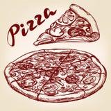 Italian pizza set hand drawn vector sketch Royalty Free Stock Photo