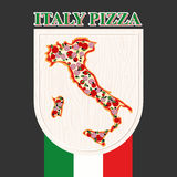 Italian pizza. Sign for a restaurant or Cafe. Pizza in silhouett Stock Images