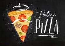 Italian pizza slice chalk Vector Illustration