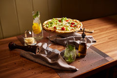 Italian Pizza. On Stand wood table Stock Image