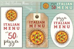 Italian Pizza Stickers Set royalty free illustration
