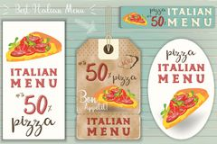 Italian Pizza Stickers Set. Italian Pizza Stickers and Price Tags Set on Blue Wooden Background in Retro Style. Vector Illustration Stock Photo