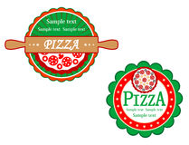 Italian pizza symbols and banners Stock Images