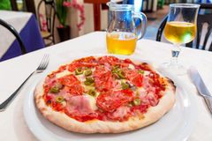 Italian pizza on the table Royalty Free Stock Photography