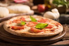 Italian pizza with tomato topped with melted golden mozzarella Royalty Free Stock Photo