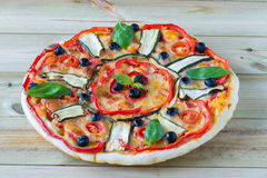 Italian pizza with vegetables Royalty Free Stock Photo