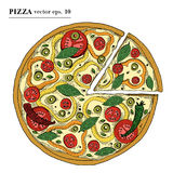 Italian Pizza vegetarian hand drawn vector illustration. Can be use for pizzeria, cafe, restaurant. Stock Photos