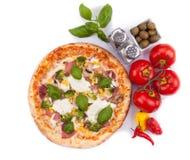 Italian pizza on white background Royalty Free Stock Image